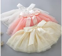Wholesale big baby tutus - Kid Baby Girls Tutu Dress Tutu Skirts Big Bow Lace baby girl dress Suit for 0-18months