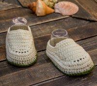 häkeln weiße babystiefel großhandel-Eierschale weiß und olivgrün Baby Boy Hand gehäkelt Booties, gehäkelte Baby Snickers, häkeln Schuhe