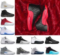 Wholesale Purple High Low - 2018 high quality 12 12s man Basketball Shoes Gym red OVO white Dark grey TAXI Flu Game playoffs French blue Wolf grey Sneakers