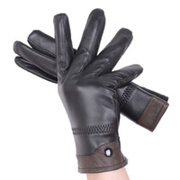зимние кожаные перчатки для мужчин черный оптовых-Men's Fall and Winter Genuine Leather Gloves New Fashion  Black Warm Driving Unlined Gloves Goatskin Mittens