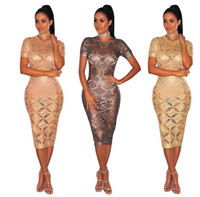 vestidos de cocktail sexy high-end venda por atacado-2018 new sexy rose gold malha dress mulheres vestidos de manga curta bodycon party dress sexy oco out boate roupas femininas