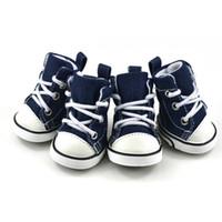 ayı ayakkabıları toptan satış-Pet Köpek Ayakkabı Kovboy Tuval Ayakkabı Ayıcık Ayakkabı Spor Rahat Kaymaz Çizmeler Sneaker Ayakkabı Köpekler Giysileri Pet Malzemeleri 17cy gg