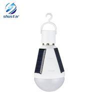 Wholesale Led Lights Daylight Bulbs - E27 7W 12W Solar Lamp 85-265V Energy Saving Light LED Intelligent Lamp Rechargeable Solar Emergency Bulb Daylight