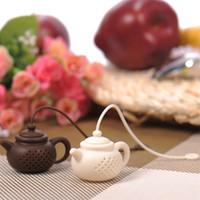 Wholesale free teapot - Creative Teapot Shaped Tea Infuser Food Grade Silicone Tea Strainer White Coffee Color Tea Bag Free Shipping