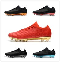 Wholesale Shoes For Mens Football Indoor - 2018 Top Flykint Ultra FG Soccer Shoes Mens Cheap Low Mercurial Vapor XI Soccer Cleats For Men Superfly Leather ACC Football Boots Shoes