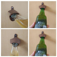 Wholesale Vintage Antique Kitchen - LJ-119 Zinc alloy Chic Vintage Antique Iron Wall Mounted Bar Beer Glass Bottle Cap Opener Kitchen Tools Bottle Openers CCA9122 100pcs