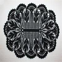 flores de ganchillo negro al por mayor-Tapete de ganchillo oval negro, Tapete de ganchillo de encaje, Corredor de mesa negro, Tapete de algodón, Tapete de flores ovalado