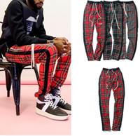 Wholesale zipper joggers resale online – High Street Vintage Plaid Jogger Pants Fear Of God Stripes Pants for Men FOG Slim Fit Pencil Pants Mens Branded Hip Hop Streetwear
