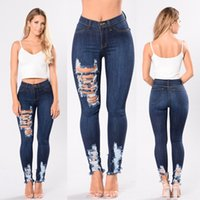 Wholesale high waist distressed jeans - Women Hot High Waist Jeans Holes Skinny Ripped Distressed Jeans Long Pants Female Clothing