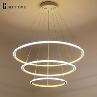 Wholesale hall ceiling light for sale - 40CM CM CM Modern Pendant Lights For Living Room Dining Room Circle Rings Acrylic Aluminum Body LED Ceiling Lamp Fixtures
