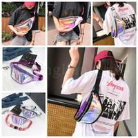 teléfono holográfico al por mayor-Mujeres PVC Láser Holograma Paquetes de Cintura Paquete de Fanny Cremallera Reflexiva Bolsa Bolsa Holográfica Transparente Bolsa de Teléfono 50 unids OOA5211