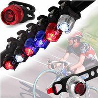 luces rojas intermitentes de seguridad al por mayor-Aluminio LED Luz de bicicleta Delantero Trasero Cola Casco Rojo Blanco Luces de destello Lámpara de seguridad Ciclismo Seguridad Precaución Luz a prueba de agua