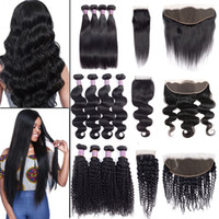 Sale! Brazilian Virgin Hair Straight Body Water Deep Wave Bundles with Closure Unprocessed Kinky Curly Human Hair Bundles with Lace Frontal