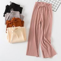 5067a281e2cf 2018 new pant women girl solid color pleated wide leg female summer high  waist chiffon long students korean fashion casual pants