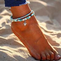 ingrosso sandali perline-Cavigliera Shell Starlet Cavigliera Starfish per le donne Bracciale multistrato a mano Gioielli Bohemian Leg Sandali regalo nuovo design