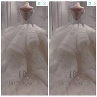 büyük dantel elbisesi toptan satış-Kapalı Omuz 2019 Dantel Aplikler Büyük Balo Bahçe Gelinlik Puf Gelin Kıyafeti Özel Artı Boyutu Tül Vestidos De Mariage Resmi