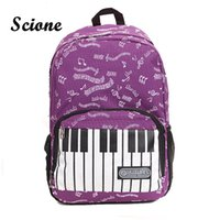 Wholesale Mini Cute Note Book - Wholesale- 2017 Fashion Piano Design Music Note Cute Printing Backpack Women Travel Laptop Rucksack Student Canvas School Book Bags JXY825