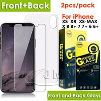 iphone ön arka cam toptan satış-Ön ve arka temperli cam telefon ekran koruyucu için iphone xr xs max x ve iphone 8 7 6 Artı bir pakette 2 adet cam filmi