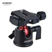 câmara de vídeo tripé bola venda por atacado-Andoer mini bola cabeça ballhead tabletop tripé suporte adaptador w / placa de liberação rápida para nikon sony canon dslr camera filmadora