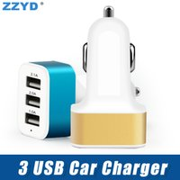 Wholesale triple socket adapter - ZZYD For iP X Samsung S8 Note8 Universal Triple USB Car Charger Adapter USB Socket 3 Port Car Charging