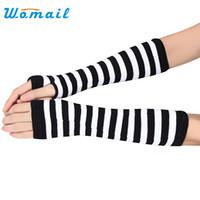 ingrosso guanti di braccio nero-Womail 2017 Pure Color Hand Long Mitten Guanti Donna Knitted Arm Guanti invernali senza dita Soft Black White