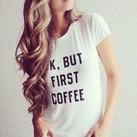 Wholesale First Coffee - Wholesale-OK BUT FIRST COFFEE T Shirts Printed Words Letter Tops New Womens Summer Loose Casual Cotton Sexy Vest Tee Shirt Tops Ladies Top