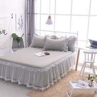 Wholesale korean princess bedding for sale - Group buy Luxurious bedding sets Korean Palace Princess Lace style lace gray Folds bed skirt pillowcase sets adult girl home textile