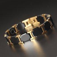 männer schwarzes wolfram keramik armband großhandel-Keramik schwarz Charm Wolframstahl-Energy Power Magnetic Verbindungs-Armbänder für Männer Bileklik mit Top-Qualität