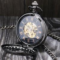 reloj steampunk mecánico negro al por mayor-Lucury Steampunk mecánico reloj de bolsillo de plata / negro flor de acero hueco mano viento hombres mujeres colgante Fob cadena regalos de cumpleaños