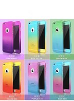 color de la cubierta de la pantalla del iphone al por mayor-360 grados de caja de teléfono de cuerpo completo híbrido de cristal templado Protector de pantalla de degradado de color teléfono para iphone