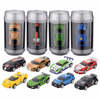 Wholesale toy cars for children online - Radio Remote Control Racing Vehicle Kids Toys High Speed Mini Coke Can RC Car for Children Xmas Gift with Road Blocks