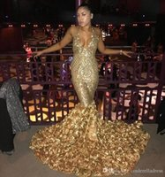Wholesale hand made pictures rose flowers for sale - Group buy 2018 Gold Sexy Halter V Neck Mermaid Prom Dresses With Rose Train Black Girls Evening Gowns African Vestidos Party Dresses BA8147