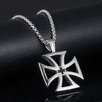 Wholesale titanium cross necklaces for men - Fashion Titanium Steel Unique Hollow Crusaders Templar Knights Cross Pendant Necklace For Men Charm Necklace Anti-Allergy Accessories G886F
