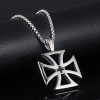cruzes únicas venda por atacado-Moda titanium aço original oco cruzados templários cavaleiros colar de pingente de cruz para homens charme colar anti-alérgicos acessórios g886f