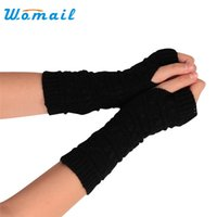 ingrosso indossare guanti di lana spessa-Womail Winter Thick Warm gloves Donna Fashion Long Knitted Wool Guanti senza dita Guanto 2017 Gift 1pair
