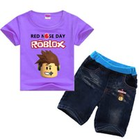 ingrosso bobo ragazza-2-8Years Bobo Choses Summer 2018 Roblox Game Boy Set estivo Due pezzi Toddler Girl Abbigliamento Abbigliamento per bambini Tshirt + jeans Sport