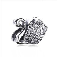 Wholesale Christmas Goose - Authentic 925 Silver Beads Goose Charm, Clear CZ For European Bracelet Bangle Diy Jewelry Gift