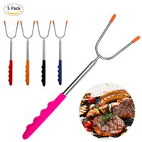 Wholesale dog car set resale online - 5pcs Set BBQ Tools Bag with Barbecue Package Camping Hot Dog Retractable Stick Skewer Barbecue Fork Stainless Steel WS