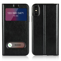 característica del iphone de apple al por mayor-Funda iPhone 8, característica de soporte de vista de ventana Funda de teléfono de cuero PU para Apple iPhone 5,6,7,8, X