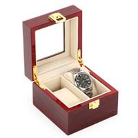 rote leichte uhren großhandel-Rote Farbe MDF Holz Uhr Aufbewahrungsboxen Schmuck Verpackung Geschenk Fall Hohe Licht Holz Uhr Display Organizer Box Für Männer