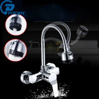 Wholesale Contemporary Style Bathrooms - POIQIHY Dual style outlet water spray Kitchen bathroom basin Faucet wall Mounted Chrome Flexible Hose Mixer Taps Dual Holes