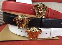 schwarze partykleid gürtel großhandel-Ledergürtel der Qualitätsmänner und -frauen, Gold Medusa Wölbung, rote und schwarze Gurtpartei-Ballkleidbreite: 3.8CM freies Verschiffen + Kasten