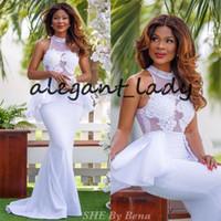 nigerianische weiße spitze prom kleider großhandel-Weiße Spitze-Nixe-Abschlussball-Gelegenheits-Kleider 2018 bescheidene hohe Ansatz-Schößchen-afrikanische nigerianische Trompete-Frauen, die formales Kleid glätten