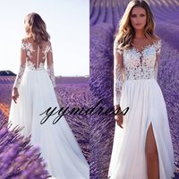 Wholesale Poets Fall - Milla Nova 2018 Beach Wedding Dresses Boho A Line Bridal Gowns Sheer Neck Lace Long Sleeve Split robe de mariage vestido de noiva