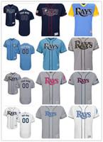 ingrosso raggi blu-Personalizzato Men's women youth Majestic Tampa Bay Rays Jersey nome personalizzato e numero blu grigio bianco Kids Girls maglie da baseball