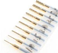 recubrimiento de carburo de titanio al por mayor-Brand New 10PCS Titanium Coat Carbide 1.0-3.0mm PCB Herramientas de carburo, Brocas de corte CNC, Kit de fresas de fresado