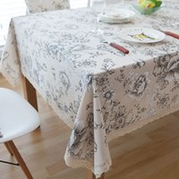 white linen table cloth Canada - Retro Floral Print Decorative Table Cloth Cotton Linen Lace Tablecloth Dining Table Cover For Kitchen Home Decor U1000