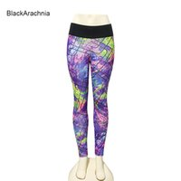 leggings morados sexy al por mayor-BlackArachnia Mujeres Sexy Harajuku Style Yoga Leggings Purple Graffiti Impreso Gym Leggings Mujeres Pantalones de Running Yoga Al Aire Libre