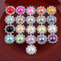Wholesale pearl hair ornaments - 120pcs Lot Bling Round Decorative Flatback Crystal Pearl Buttons For Hair Accessories Metal Rhinestone Buttons Hair Ornaments Headwear