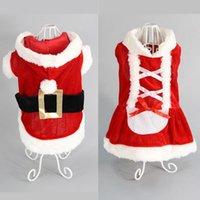 Wholesale dress size small free shipping - 5 Size Christmas dog transformed dress santa suit classic Euramerican pet dog Christmas clothes pets supplies free ship